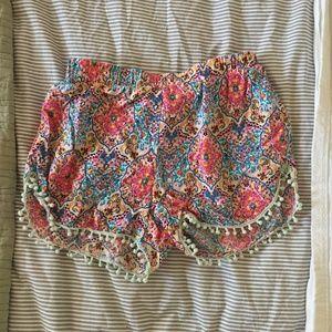 Bohemian Paisley Pom Pom Shorts